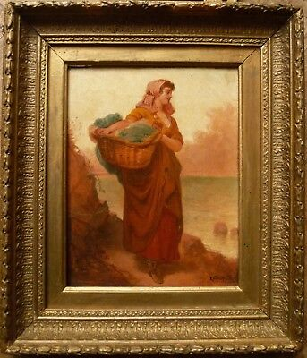 EATON WALKER 19th C Victorian oil girl, Pre-Raphaelite look c1860. Antique frame