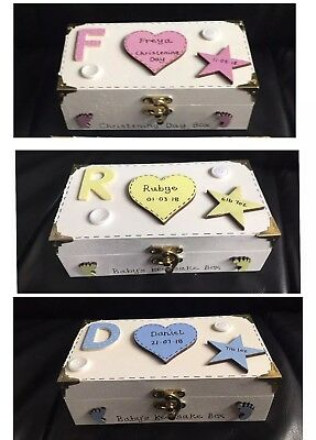 Baby's Keepsake Box Wooden Memory Gift Personalised Baby First Tooth First Curl