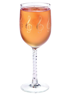 Wine Glass Goblet G Clef Treble Gold Print Music Gift Giftware FREE SHIPPING