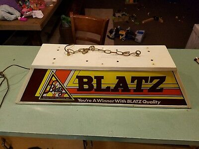 Vintage Blatz Beer Pool Table Light Plastic Hanging Chain Brewmania