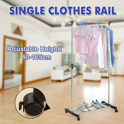 Portable Stainless Steel Single Clothes Organizer Hanger Rack Rail Garment Dryer