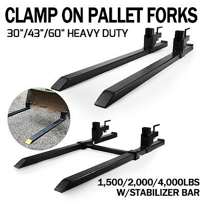 Pro 1500/4000lbs capacity Clamp on Pallet Forks Loader Bucket Skidsteer Tractor