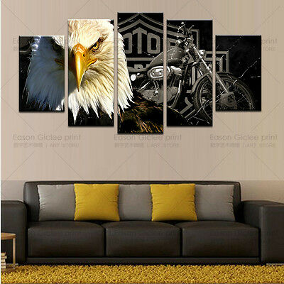 5 Piece HD Canvas Print Eagles Motorcycle Painting Modern Picture Wall Decor Art
