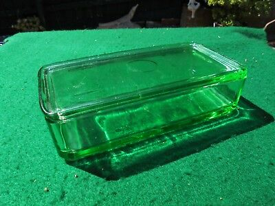 Australian Green Depression Glass Large Fridge Box Crown Crystal Glass Perfect