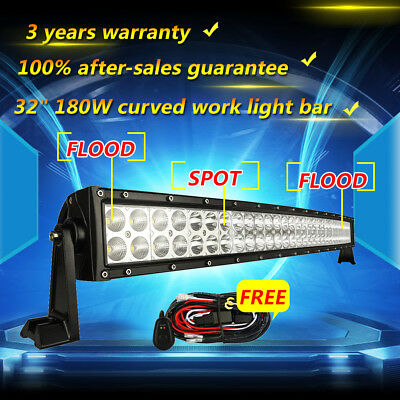32inch 180w Curved Led Work Light Bar Flood Spot Offroad Driving Truck SUV Jeep