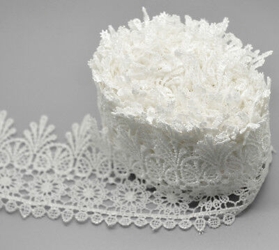 5Yds Lace Floral Embroidered Tulle Trim Wedding Dress Clothes Sewing Craft White