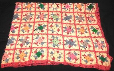 Granny Square Afghan Throw Blanket Pink Soft White Vintage Hand Crocheted 40x44