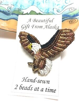 Alaska Souvenir Handbeaded Eagle in Flight Pin Brooch