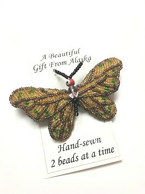 Handbeaded Butterfly Pin Brooch Alaska Souvenir