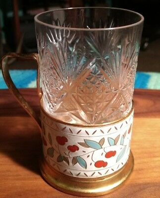 Vintage WOIV USSR  Metal Enamel Glass Holder Cup With Crystal Insert