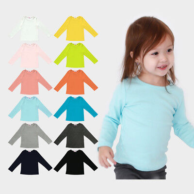 KE_ Kids Boys Girls Long Sleeve O-Neck Soft Solid Color Cotton T-Shirt Top Tee