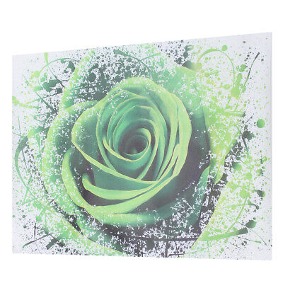 Abstract Green Rose Flower Canvas Print Wall Art Painting Picture Decor Unframed