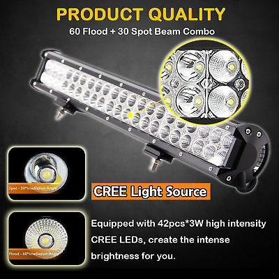 20inch 126W CREE LED Work Light Bar Spot Flood Driving Lamp Offroad 4WD Truck