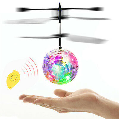 Kid RC Flying Heli Ball Drone LED Flashing Light Crystal Aircraft Helicopter Toy