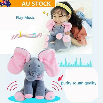 "12""Peek-a-boo Elephant Baby Plush Toy Singing Stuffed Animated Animal Kids Dolls"