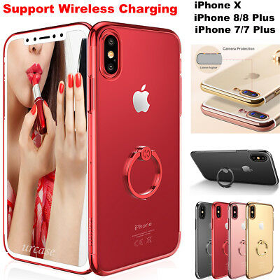 Fr iPhone X 8/8 Plus Case With Metal Rotating Finger Ring Holder Kickstand Cover