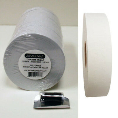 1 Sleeve 20000 Labels 8 Rolls White Pricing/Marking Labels with 1 Free Ink
