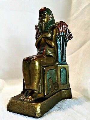 Egyptian Art Deco Statue of a seated Pharaoh ca, 1925. Signed by Artist