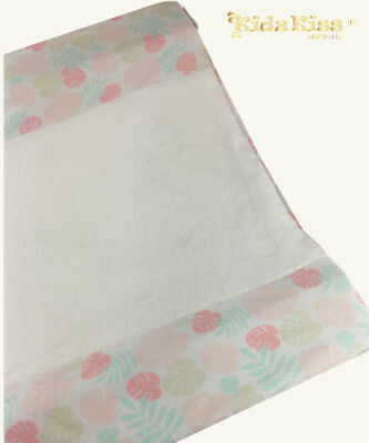 KIDZ KISS Jersey Velour Fitted Change Mat Cover [Leaf / Pink]