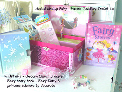 Musical Fairy jewellery box complete or Charm bracelet or with Fairy Story book