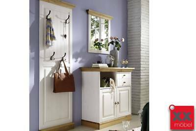 landhaus garderobe 3 tlg wei massiv holz schuhkommode bank mit lehne schubladen eur. Black Bedroom Furniture Sets. Home Design Ideas