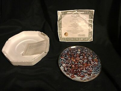 """Franklin Mint """"SANTA PAWS"""" by Bill Bell 8 1/4"""" Porcelain PLATE #X8662"""