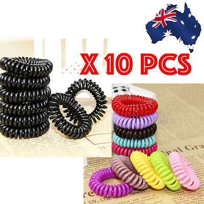 10 Pcs Women Girl Lady Elastic Rubber Spiral Bungee Plastic Hair Tie Band LARGE