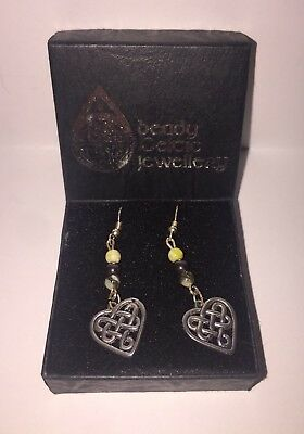 NIB Beady Celtic Jewellery Connemara Marble Beaded Heart Knot Drop Earrings