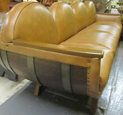 Vtg 1950-60s MCM 4 Wood Wine Distillery Whiskey Barrel Sofa Couch 8' WILL SHIP