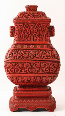 Chinese Cinnabar Lacquer Covered Urn, 6 pc. Lot 334