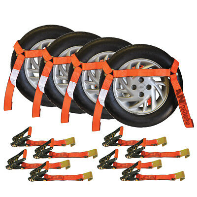 Vulcan ProSeries Flat Bed Side Rail Auto Tie Down w/ Flat Hooks (Pack of 4) Safe