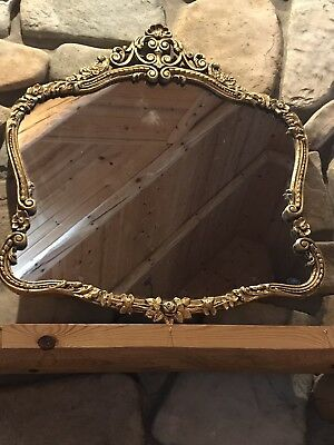 Antique Ornate Gold Painted Framed Wood Large Wall Mirror