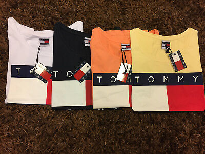 Tommy Jeans Damen Logo Shirt Big Flag Hilfiger T-Shirt 90´s Gr. S-XL vers. Far