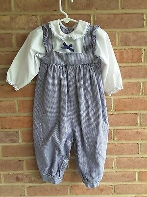 vintage girls Alexis houndstooth cotton romper / jumper  18 mos. USA made