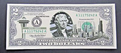 2003-A $2 - Two U.S. Dollar Banknote - Mint Condition - Overlay Washington