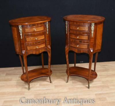 Pair Regency Walnut Inlay Bedside Chests Tables Nightstands