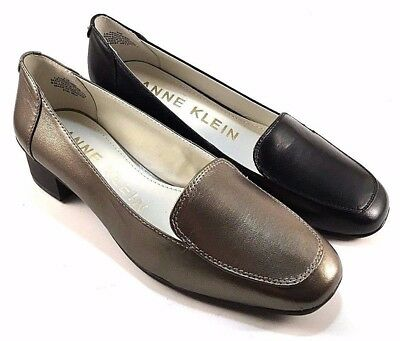 36fc461e657 Anne Klein Daneen Leather Low Heel Square Toe Loafers Choose Sz Color
