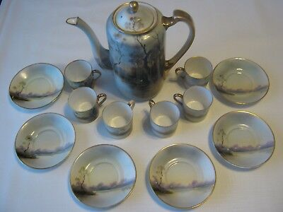 Noritake Early 1900's Hand Paint Chocolate Pot & 6 Demi Cups With Saucers Lake