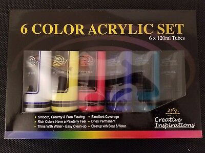 Creative Inspirations Acrylics Paints Set of 6 120ml Tubes 6 Colors