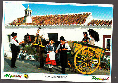 Vintage Used Postcard Portugal, Algarve Traditional Dress Horse & Cart Stamped