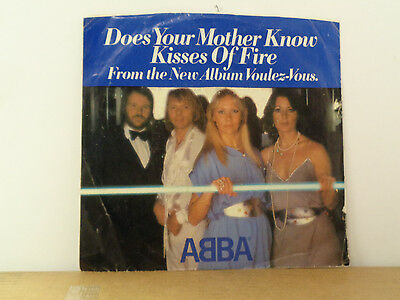 """ABBA""""Does your mother know/Kisses of fire"""" Vinyl 45rpm Pict Sleeve Atlantic 3574"""