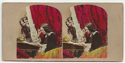 Tinted Stereo Stereoview Genre Inquisitiveness  London J. Elliott 1850er