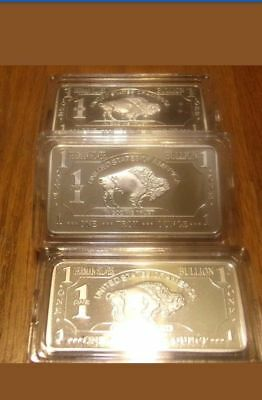 1 Troy oz German Silver Buffalo Collectible Art Bar W/CASE       (al207)