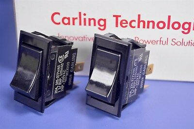 2 Carling Tippette Rocker Switch DPST ON-NONE-OFF 20A @ 125Vac TIGK721-6S-BL-NBL