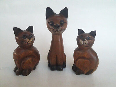 3x Hand Carved Wooden Cats Figurines Sculptures Teak Wood Carving Decor Set Of 3