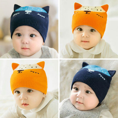 Cute Baby Fox Hat Knitted Cap Beanie Baby Accessory Autumn Winter Kids Gifts