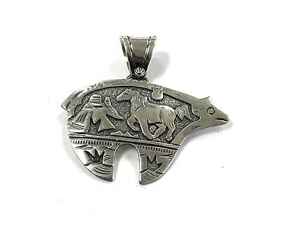 Native American Sterling Silver Navajo Handmade Over Lay Bear Design Pendant