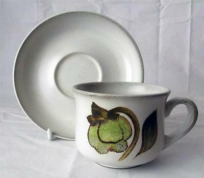 Denby Pottery Troubadour Pattern Cup and Saucer made in Stoneware