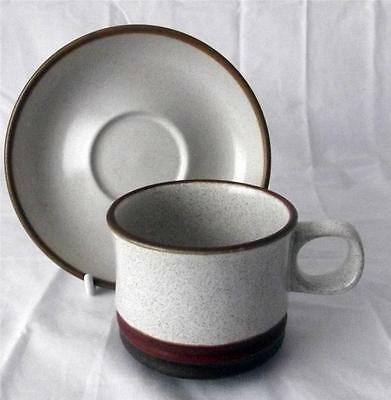 Denby Pottery Potters Wheel Rust Red Pattern Cup and Saucer made in Stoneware