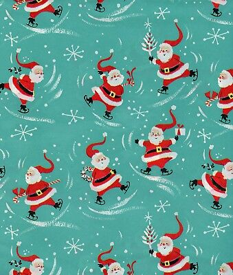 Vintage 1950s MID CENTURY SANTA Christmas Gift Wrap, Wrapping Paper, NOS #16